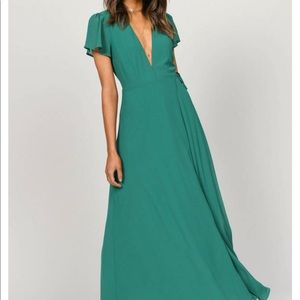 piper green plunging maxi dress